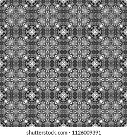 Abstract seamless pattern. Black and White background. Kaleidoscope from flowers. Hydraulic tile design.