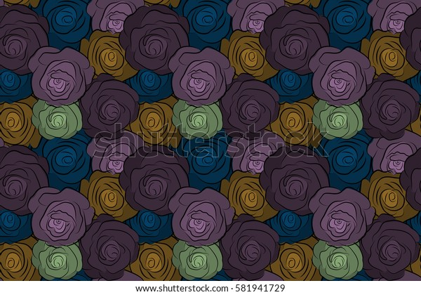 Abstract seamless pattern in brown and purple colors. Raster background illustration. Nature rose flowers.