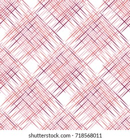 Abstract seamless pattern of chequered red lines. Diagonal plaid ornament. Raster version
