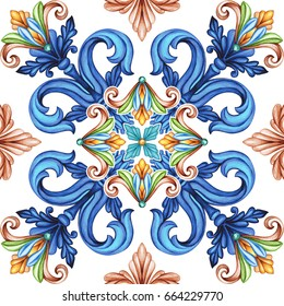abstract seamless pattern, classic design, antique mosaic ornament, medieval acanthus background, mosaic ceramic tile, kaleidoscope