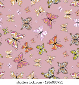 Abstract seamless pattern for clothes, boys, girls, wallpaper. Seamless pattern background with insect. Different beautiful butterflies flying for coloring book.
