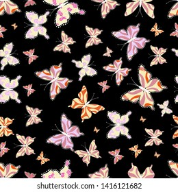 Abstract seamless pattern for clothes, boys, girls, wallpaper. Different beautiful butterflies flying for coloring book. Seamless pattern background with insect.