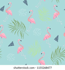 Abstract seamless pattern with flamingo. Summer tropical design. Hand drawn  illustration