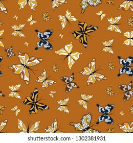 Abstract seamless pattern for girls, boys, clothes, wallpaper. Collection of colorful butterflies, flying in different directions.