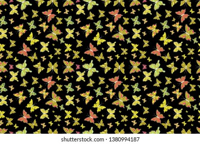 Abstract seamless pattern for girls, boys, clothes, wallpaper. Raster illustration. Collection of colorful butterflies, flying in different directions.