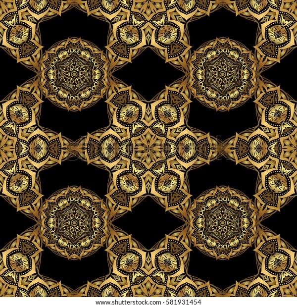 Abstract seamless pattern with golden ornaments on a black backdrop. Vintage design with gold ornaments.