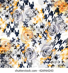 Abstract seamless pattern houndstooth design. Grunge dogtooth background. Floral fabric swatch with watercolor effect. Textile print for bed linen, jacket, package design, fabric and fashion concepts.
