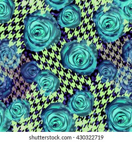 Abstract seamless pattern houndstooth design. Dogtooth background. Floral swatch with watercolor effect. Textile print for bed linen, jacket, package design, fabric and fashion concepts.