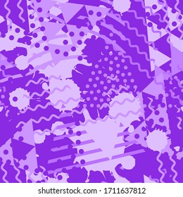 Abstract seamless pattern with liquid and geometric shapes colored in modern protone purple color