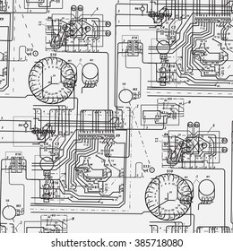 Abstract seamless pattern on the theme of science and electrical engineering. Black fantastic wiring diagram on a white background. Rasterized version.