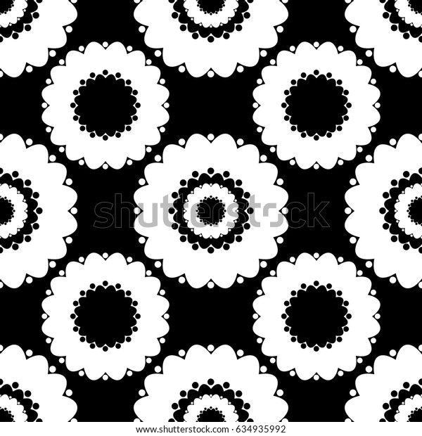 Abstract seamless pattern with round shapes, black and white background, raster copy of vector file