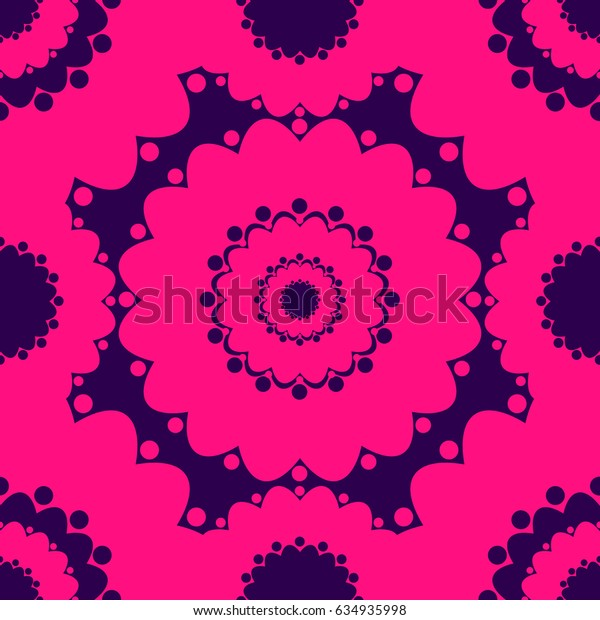 Abstract seamless pattern with round shapes, colorful pink background, raster copy of vector file