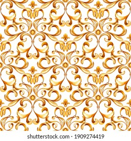 Abstract seamless pattern of scrolls, vintage gold background,