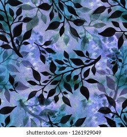 Abstract seamless pattern of stylized tree branches. Handmade watercolor. Design of wallpaper and fabric.