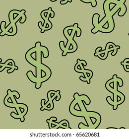 Abstract seamless pattern with symbols of dollar. Background for your design. Raster illustration.