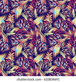 Abstract seamless pattern with waves, hand-drawn ballpoint pens. Engineering graphics, ethnic, bohemian style, Art Nouveau. It reminds feathers. It can be used as a design for textiles and tattoos