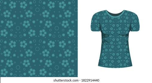 Abstract seamless pattern wiht blue flowers and mock up T-shirt whith this ormnament on white background. Floral marine, nautical texture for fabric, textile, wrapping paper, bedlinen.