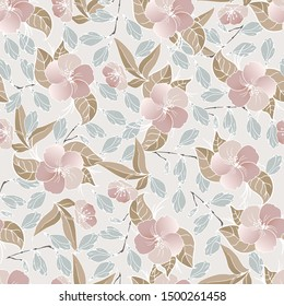 Abstract seamless simple floral pattern. Flower pattern. Spring pattern. Pattern for textiles or for cover. Wallpaper. Hand drawn.