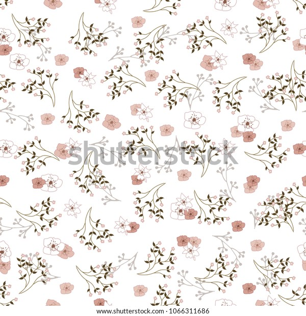 Abstract Seamless Simple Floral Pattern Flower Stock Illustration