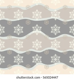 Abstract seamless snowflakes design. Textile print for bed linen, jacket, package design, fabric and fashion concepts. Seamless background. Snowflakes seamless pattern with watercolor effect.