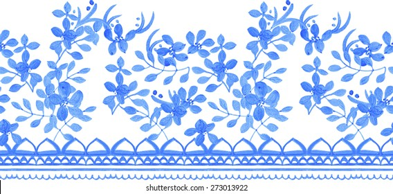 Abstract seamless tradition watercolor border for fabric in blue and white colors. Beautiful floral design for shawl, fabric, wall, scrapbook, tile