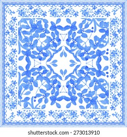 Abstract seamless tradition watercolor pattern for fabric in blue and white colors. Beautiful floral design for shawl, fabric, wall, scrapbook, tile
