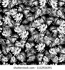Abstract seamless tropical pattern for girl and boy. Creative tropical pattern, colorful wallpaper with branches ferns, tropical plants. Print summer exotic jungle plant, palm pattern leaves.