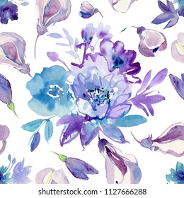 Abstract seamless watercolor hand painted background. Isolated blue flowers and leafs. Flowers watercolor illustration in pastel colors. Elegant hand-painted composition.