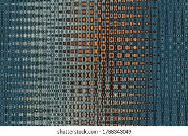 Abstraktes, nahtloses Zickzackmuster mit Wellen in Blau, Grün, Orange. Künstlerische Bildbearbeitung erstellt von Weihnachtsbaum-Spielzeugfoto. Schönes mehrfarbiges Muster für jedes Design. Hintergrundbild