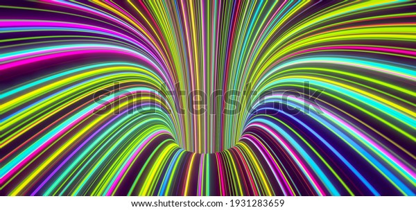 Abstract self-luminous colored lines come from the hole. 3d rendering