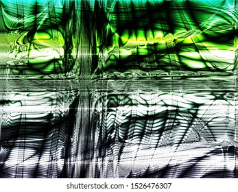 Abstract semi organized chaos on a moody white and gradient green background depicting fast moving energy flows of quantum inertia. Moving masterpiece!