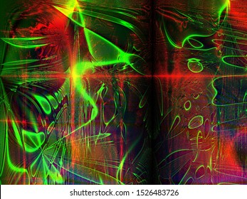 Abstract semi organized chaos on a moody multicolored background depicting fast moving energy flows of quantum inertia.