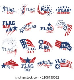 An abstract set of United States of America Flag Day mnemonics in red white and blue on an isolated white background