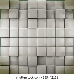 Abstract  shape from cubes - 3-d render  background in monochrome  toned.