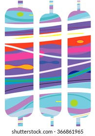 Abstract shapes aquamarine pattern, vertical with purple, pink, cool colors like guatemalan textiles