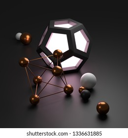 Abstract shapes on a dark background. 3D render / rendering.