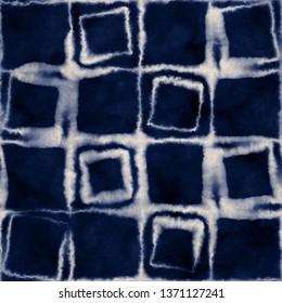 Abstract Shibori Checked Graphic Motif. Seamless Pattern.