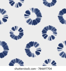 Abstract Shibori Floral Motif. Seamless Pattern.