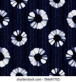 Abstract Shibori Floral Striped Motif. Seamless Pattern.