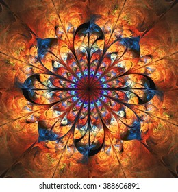 Abstract shining fiery mandala with floral ornament. Symmetrical pattern in orange, red and navy blue colors. Fantasy fractal design for postcards or t-shirts.