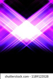 Abstract shining geometric lights background. Fractal symmetric graphic illustration.