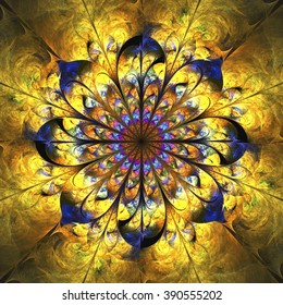 Abstract shining golden mandala with floral ornament. Symmetrical pattern in orange, yellow and navy blue colors. Fantasy fractal design for postcards or t-shirts.