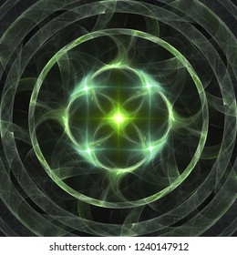 Abstract shining green star burning rings fractal banner or print background digital art. Magic, mystery, esoteric powers visualization or technological atomic energy presentation backdrop.