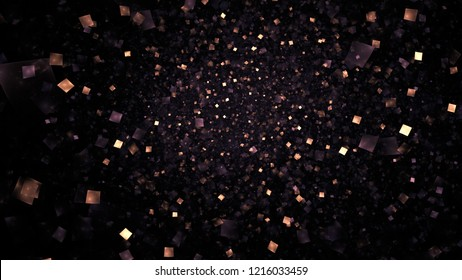 Abstract shiny gold and violet particles. Chaotic fractal background. Digital art. 3D rendering.