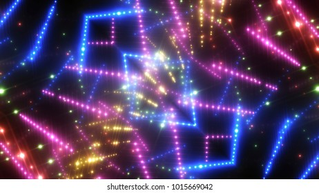 abstract shiny multicolored background with beams and stars. illustration digital.