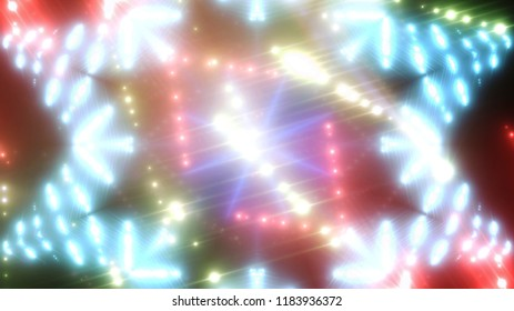 abstract shiny neon background with beams and stars. illustration digital.