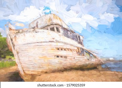 Abstract of shipwrecked fishing boat, a landmark in Inverness, California, USA, its stern destroyed by fire in 2016, with digital impasto effect and canvas texture, for nautical and travel concepts