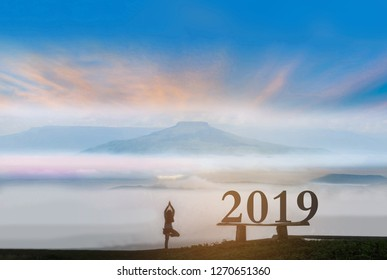 The abstract silhouette of 2019 with woman stand exercise yoga, the beautiful sky cloud Thailand Fuji's mountain view by beam light and lens flare effect tone background.