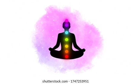 Abstract silhouette meditation man on watercolor galaxy texture design background.