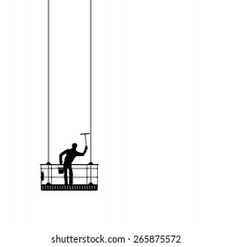abstract silhouette of a window cleaner at work
